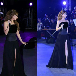 Nancy Ajram Black A-Line Prom Party Dresses Sequins Strapless Elegant Slit Chiffon Floor Length Red Carpet Celebrity Dresses Velvet Top