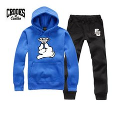 hottest Men Cheap Crooks And Castles New Arrival Long Sleeve Sweatshirt Round Neck Autumn and Winter hoodies +pants