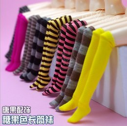 Wholesale Line Dolls For Free - Free Shipping 12pairs lot Fashion BJD Doll Clothes Netherstock With Lined Lattice, Kids Long Stocking for BJD Doll Accessories