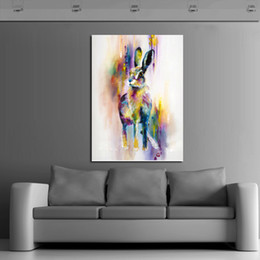 Wholesale Handpainted Animal Wall Pictures Lovely Cute Rabbit Art Abstract Oil Painting On Canvas For Home Decor Hang Wall Paintings
