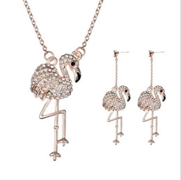 Wholesale 2015 new fashion ideas for her swan diamond jewelry charm necklace earring piece banquet