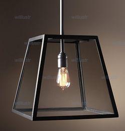 RH Lighting Restoration Hardware Vintage Pendant Lamp FILAMENT PENDANT Edison Bulb Glass Box RH Loft lights