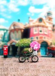 Promotion bébé toiles de fond la photographie de vinyle 200cm * 150cm Bicyclette ballon à ballon chateau Baby Salle de bain vinyle en toile de fond pour la photographie