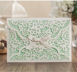 Wholesale Wedding Invitations Hollowed Lace Personalized Printed Love Invitation Card Korean Style Floral Gorgeous Wedding Supplies Cards K5646
