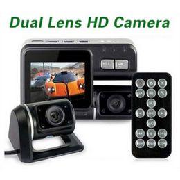 Cámaras de lentes de porcelana en Línea-i1000 alta calidad del coche DVR de doble cámara de doble lente de la videocámara HD 1080P Dash Cam Box Negro con la parte trasera del vehículo 2 Cam Ver tablero