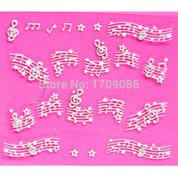Wholesale-Nail Art Stickers 3D Decal Elegant White Music Notes Cameo Star Design Decorations French Manicure Foil
