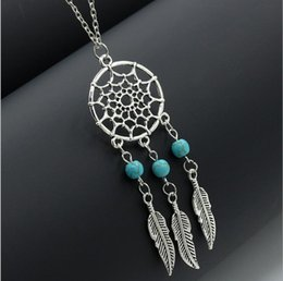 Wholesale 4 styles Hot dream catcher statement necklaces sterling silver jewelry wings feather long pendant necklaces for women