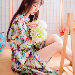 Wholesale Wedding Pajamas Japanese Silk Robe Kimono Bridesmaid Robes Print Flowers Nightdress Sleepwear Broken Flower Kimono Underwear Opp Bag