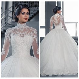 Wholesale Modest High Neck Ball Gown Wedding Dresses Amanda Long Sleeves Lace Appliques vestido de novia Bridal Gowns Custom Made Chapel Train