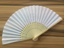 white fans wedding favor hand fans wholesale quality silk bamboo fans folding fan 001