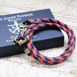 Wholesale Handmade Charm Factory Price Cotton Rope Brass Anchor Bracelet Anchor Rope Mens Anchor Bracelet