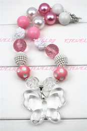 White Butterfly pink Beads chunky necklaces for girls and kids CB252