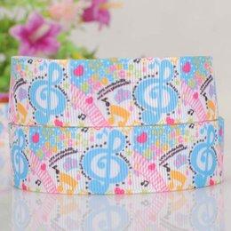 Wholesale 7 quot mm music nots pattern Printed grosgrain ribbon hairbow DIY handmade