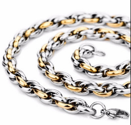 XMAS   Valentine GIFTS Gold Silver High Quality Pure Stainless steel Twist Oval Rope Chain Link Necklace Fashion Men Jewelry 9mm 24''