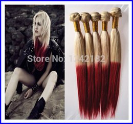 sexy beauty T613 red two tone ombre brazilian hair, grade 6a brazilian virgin hair straight ombre hair weave bundles 100g