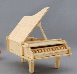 Wholesale FBH032018 Handmade wooden music box diy gift grand piano birthday present