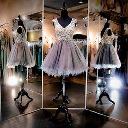Wholesale Cheap Sexy Mini Wedding Dresses - 2015 Homecoming Dresses Short Wedding Party Dresses Beaded Short Prom Dresses V Neck See Through Cheap Graduation Dresses with Rhinestones