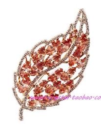 colorful crystal leaf women;s brooch (6.2*3cm( (myyhmz)