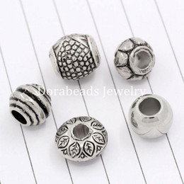 Wholesale 50PCs Mixed Antique Silver Acrylic Beads Spacers Beads Fit European Charm B03266 seasons