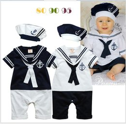 Wholesale Baby Boys Navy Sailor Style Rompers Toddler Baby Navy Costume Short Sleeve Stripe Romper Jumpsuit With Hat Infants Babies One Piece Bodysuit