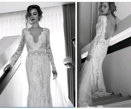 2015 Fall White Ivory Bohemian Wedding Dresses Sexy V Neck Long Sleeves Lace Bridal Gowns Custom Made Open Back Sheath Exquisite Elegant