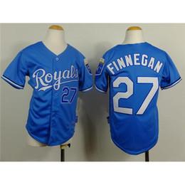 Uniformes económicas para los niños en Línea-Jersey de béisbol Reales barato # 27 Brandon Finnegan azules Los bebés de los uniformes de béisbol 2015 del nuevo del estilo del béisbol de los niños viste camisas cosidas Deportes