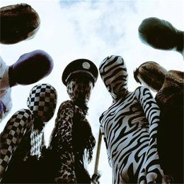 Wholesale-High Quality Zebra Pattern Unisex Lycra Spandex Zentai Suit Party Costumes Halloween Cosplay Zentai suit