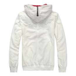 Hot Sale eagle pattern on the back Men women Hoodies Coats  Jackets outerwears Clothes 100% Cotton Top Tees White sports clothes