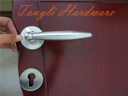 Fashion stainless steel SUS 304 L shape solid lever door handle 1 kg per pairs interior door room handle washroom pull