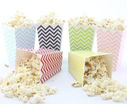 24pcs lot(2packs) Wedding Decor Supplies Mini Popcorn Boxes pink Chevron Dot Striped Candy box  popcorn box bag  Party Paper Loot Bags