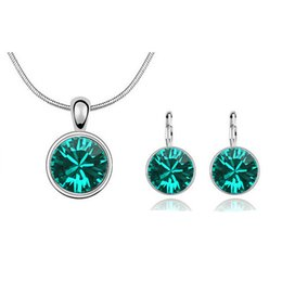 Fashion Round Shape Necklace And Earrrings Sets Fashion Crystal Zircon Jewelry Sets For Women Best Jewelry Set 1180
