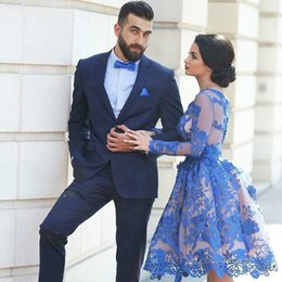 Long Sleeve Dresses Evening Wear Short Lace Prom Dresses Ball Gown Knee Length Tulle Applique 6314