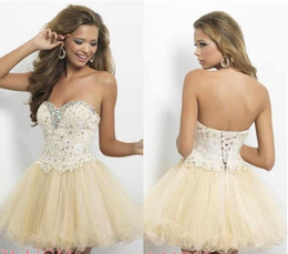 Wholesale Sweetheart Crystal Lace Tulle Homecoming Dresses Champagne Blue Short Party Dress Formal Prom Dresses Graduation Cocktail Gowns CPS206