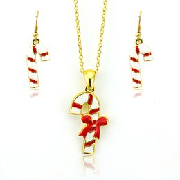 Fashion Jewelry Sets White Christmas Crutch Gold Plated Women Earrings Necklace Sets Christmas Decoration Gift Jewelry