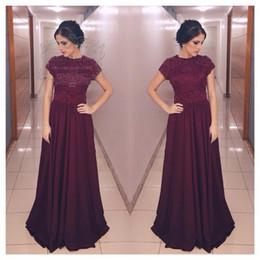 New Party Dress Pearls Beading Decoration Key Hole Back Long Prom Dress with Short Sleeves Burgundy Elegant Dress