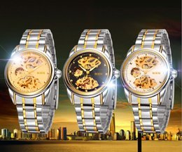 Wholesale BOSCK Automatic mechanical watch Hollow out men watch fashion man business pointer stainless steel tables gold machine watches ems