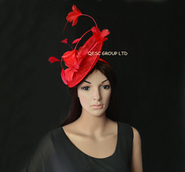New Arrival. RED sinamay Fascinator Feather Fascinator with feather flowers for Melbourne cup,Wedding.Kentucky derby.
