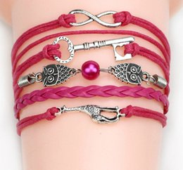 54 fashion styles cross infinity vintage charm bracelets anchor handmade braided leather bracelets multy styles