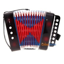 Wholesale 7 Keys Bass Accordion Kids Children Music Instrument Toy Christmas Gift black