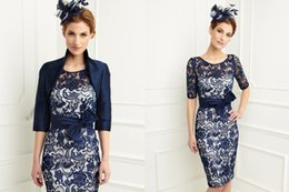 Wholesale 204 Best Selling Navy Blue Lace Mother of the Bride Dresses with Jacket Plus Size Wedding Party Dresses Mother Of the Bride