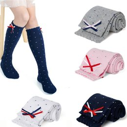 Wholesale Baby girl socks kids Stockings classic knee boots high socks dot Cotton candy color lace princess socks with bow decor