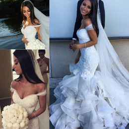 Off The Shoulder New Wedding Dresses 2016 Lace Appliques With Pearls Tulle Plus Size Bridal Gowns Wedding Party Dresses Custom Made