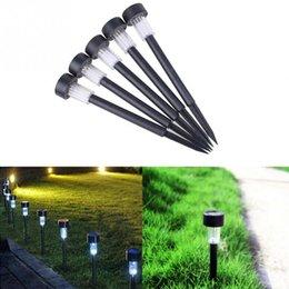 Wholesale-5pcs lot Plastic Solar Lawn Lamp LED Light Landscape Outdoor Garden Path Lawn Lighting