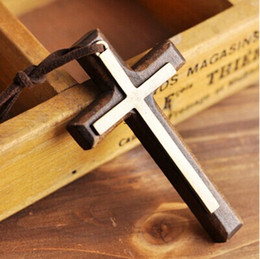Double wooden cross pendant necklace vintage alloy leather cord sweater chain men women jewelry lovers stylish 12pcs