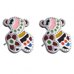 Wholesale Tous MultiColor Bear Stainless Steel Stud Earrings with White Gold Plate Titanium steel earrings