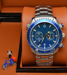 Hot Sale dive chronograph 007 blue Mens Watch Professional Planet Ocean Co-Axial Dive Wristwatch Floding clasp Men Watches
