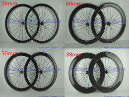 Wholesale Full carbon road bike wheels Wheelset without decal stickers full black K UD glossy matte finish mm original brand available