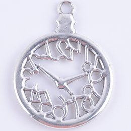 Wholesale metal antique silver plating charms Pocket watch pendant jewelry findings fit necklaces jewelry making Z3056
