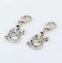 Wholesale Hot Antique Silver Alloy Paint Palette Artist Painter Charms Bead with Lobster clasp Fit Charm Bracelet x mm DIY Jewelry