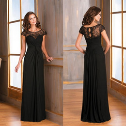 2017 black long cap sleeves mother of the bride dresses sheer lace backless chiffon fashion prom dress formal plus size evening gowns